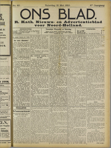 Ons Blad : katholiek nieuwsblad voor N-H 1910-05-21
