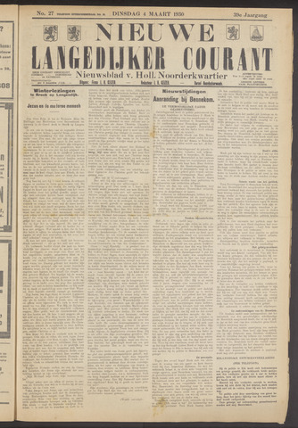 Nieuwe Langedijker Courant 1930-03-04