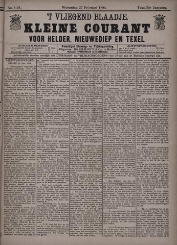 Vliegend blaadje : nieuws- en advertentiebode voor Den Helder 1884-02-27