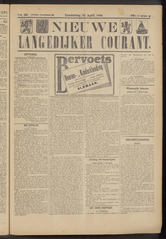 Nieuwe Langedijker Courant 1924-04-10