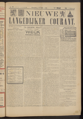 Nieuwe Langedijker Courant 1924-07-05
