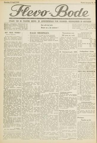 Flevo-bode: nieuwsblad voor Wieringen-Wieringermeer 1949-04-23