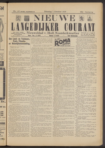 Nieuwe Langedijker Courant 1929-10-01