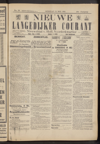 Nieuwe Langedijker Courant 1931-05-12