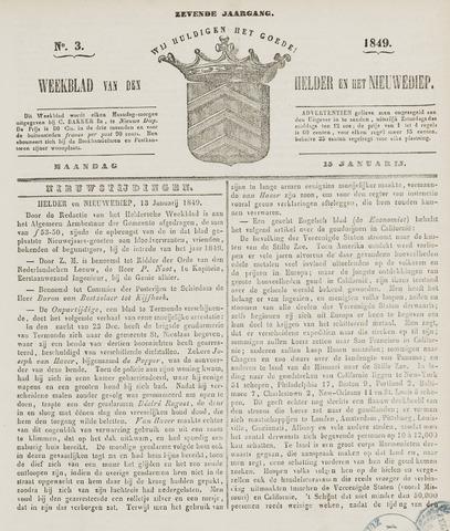 Weekblad van Den Helder en het Nieuwediep 1849-01-15