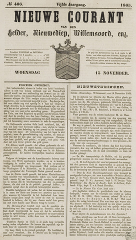 Nieuwe Courant van Den Helder 1865-11-15