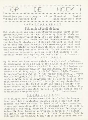 Op De Hoek, weekblad voor Akersloot 1963-02-22