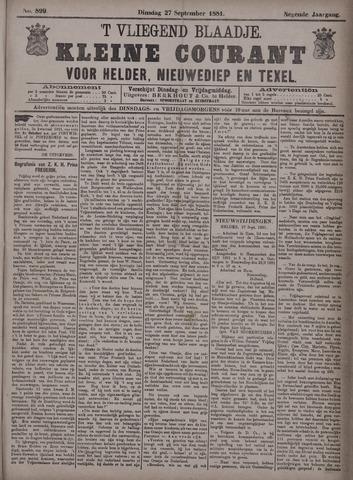Vliegend blaadje : nieuws- en advertentiebode voor Den Helder 1881-09-27