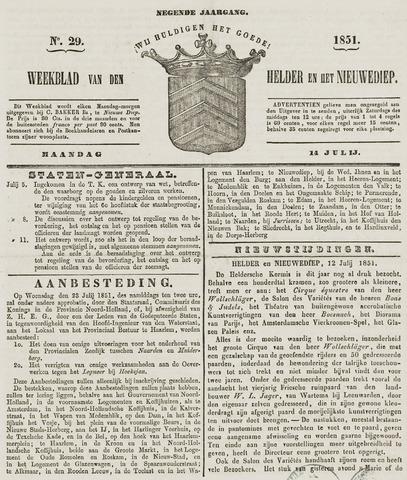 Weekblad van Den Helder en het Nieuwediep 1851-07-14