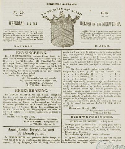 Weekblad van Den Helder en het Nieuwediep 1855-07-16