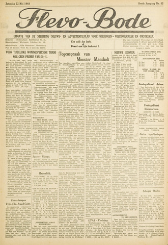 Flevo-bode: nieuwsblad voor Wieringen-Wieringermeer 1948-05-22
