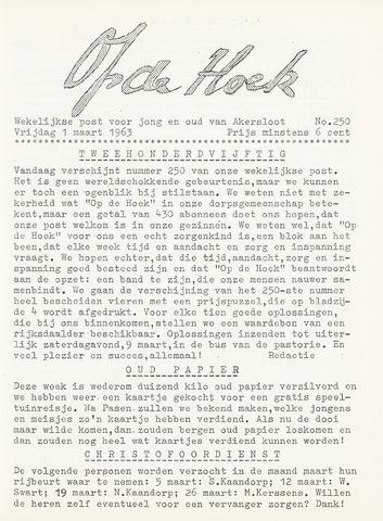 Op De Hoek, weekblad voor Akersloot 1963-03-01