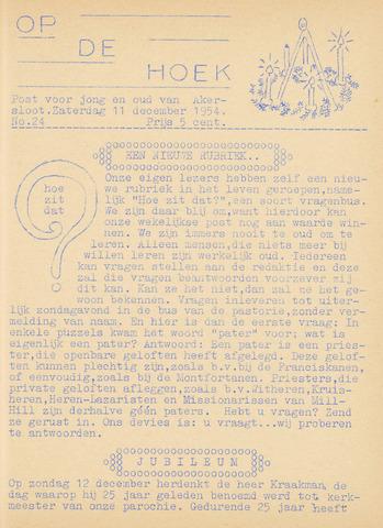 Op De Hoek, weekblad voor Akersloot 1954-12-11