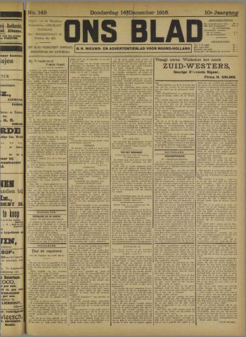 Ons Blad : katholiek nieuwsblad voor N-H 1916-12-14
