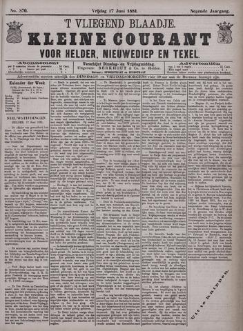 Vliegend blaadje : nieuws- en advertentiebode voor Den Helder 1881-06-17