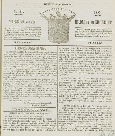 Weekblad van Den Helder en het Nieuwediep 1855-07-30
