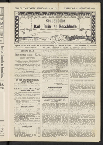 Bergensche bad-, duin- en boschbode 1930-08-23