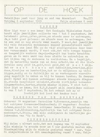 Op De Hoek, weekblad voor Akersloot 1963-09-06