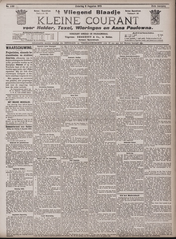 Vliegend blaadje : nieuws- en advertentiebode voor Den Helder 1903-08-08