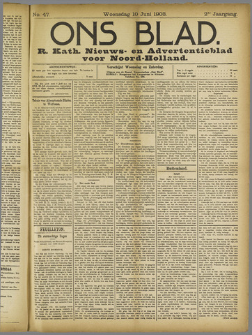 Ons Blad : katholiek nieuwsblad voor N-H 1908-06-10