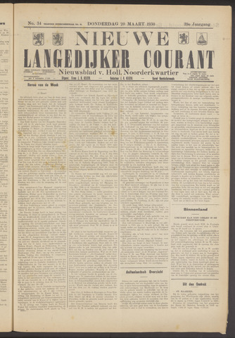 Nieuwe Langedijker Courant 1930-03-20
