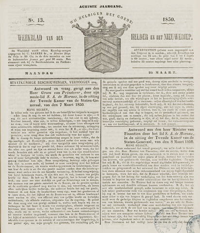 Weekblad van Den Helder en het Nieuwediep 1850-03-25