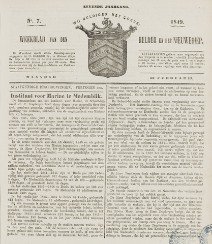 Weekblad van Den Helder en het Nieuwediep 1849-02-12