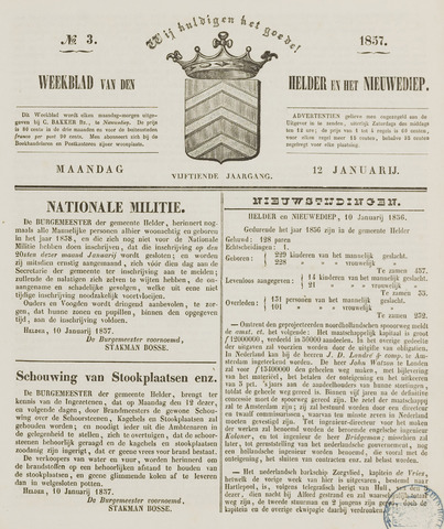 Weekblad van Den Helder en het Nieuwediep 1857-01-12