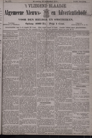 Vliegend blaadje : nieuws- en advertentiebode voor Den Helder 1875-09-22