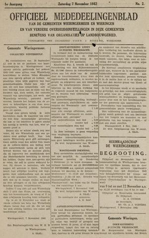 Mededeelingenblad Wieringermeer en Wieringen 1942-11-07