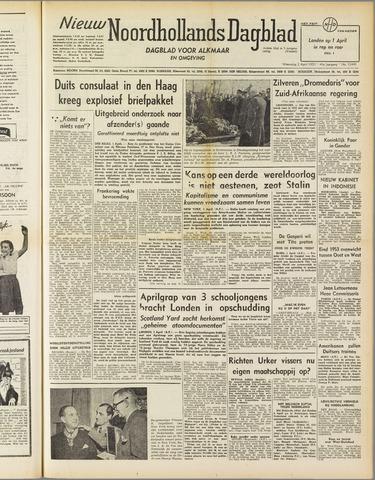 Nieuw Noordhollandsch Dagblad : voor Alkmaar en omgeving 1952-04-02