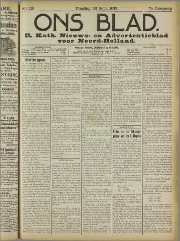 Ons Blad : katholiek nieuwsblad voor N-H 1913-09-23