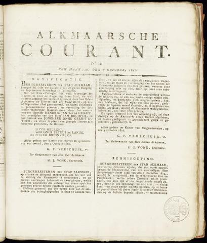 Alkmaarsche Courant 1816-10-07