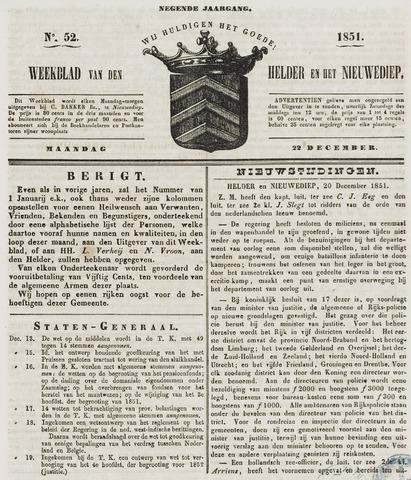 Weekblad van Den Helder en het Nieuwediep 1851-12-22