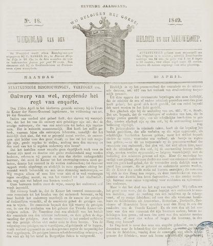 Weekblad van Den Helder en het Nieuwediep 1849-04-30