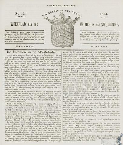 Weekblad van Den Helder en het Nieuwediep 1854-03-27