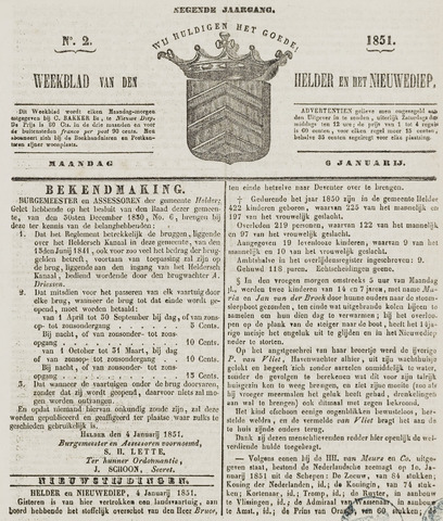 Weekblad van Den Helder en het Nieuwediep 1851-01-06