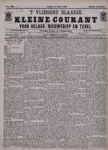 Vliegend blaadje : nieuws- en advertentiebode voor Den Helder 1880-06-11