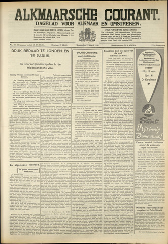 Alkmaarsche Courant 1939-04-12