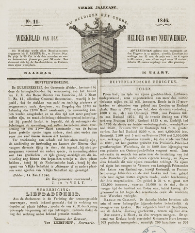 Weekblad van Den Helder en het Nieuwediep 1846-03-16