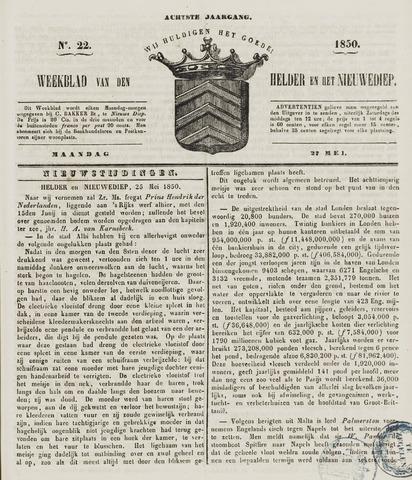 Weekblad van Den Helder en het Nieuwediep 1850-05-27
