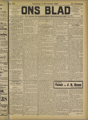 Ons Blad : katholiek nieuwsblad voor N-H 1916-11-11