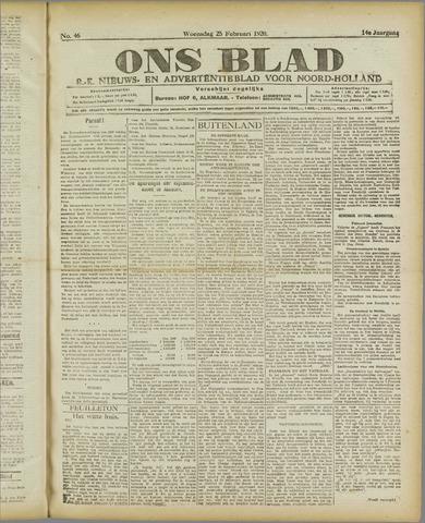 Ons Blad : katholiek nieuwsblad voor N-H 1920-02-25