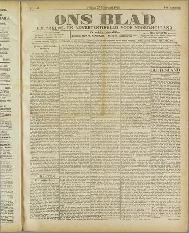 Ons Blad : katholiek nieuwsblad voor N-H 1920-02-27