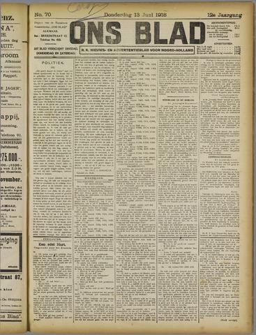 Ons Blad : katholiek nieuwsblad voor N-H 1918-06-13