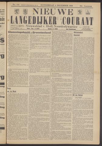 Nieuwe Langedijker Courant 1930-12-04