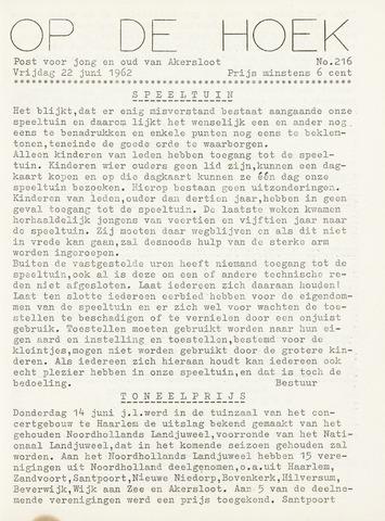 Op De Hoek, weekblad voor Akersloot 1962-06-22