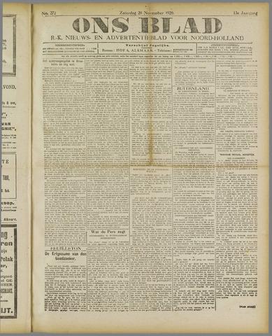 Ons Blad : katholiek nieuwsblad voor N-H 1920-11-20