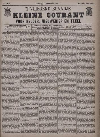 Vliegend blaadje : nieuws- en advertentiebode voor Den Helder 1881-11-22