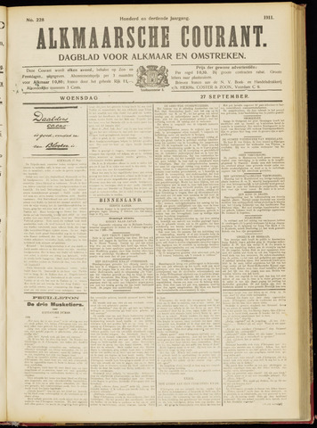 Alkmaarsche Courant 1911-09-27